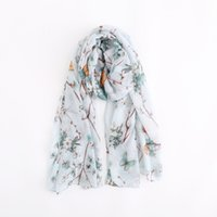 Wholesale bali scarf yarn resale online - Fashion Chinese Style Plum Butterfly Design Sketch Element Comfortable and Breathable Bali Yarn Flower Print Scarf