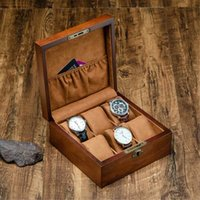 Wholesale vintage wood case resale online - New Vintage Wood Watch Display Box Organizer with Key Watch Wooden Case Fashion Storage Packing Gift Boxes Jewelry Case
