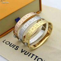 Wholesale printed bracelets resale online - New brand fashion printed bracelet gold silver rose gold bracelet classic design steel bracelet for women men best quality with box