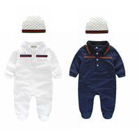 jungen 12 monate kleidung großhandel-Baby Kleidung Strampler Frühling Herbst Junge Kleidung Neugeborenes Baby Kleidung Langarm Puppe Kragen Infant Overalls Baby Boy Set 0-24 Monate