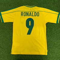 Wholesale Top BRASIL RETRO VINTAGE CLASSIC RONALDO RONALDINHO RIVALDO Thailand Quality soccer jerseys uniforms Football shirt camiseta futbol