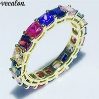 Wholesale cushions for rings online - Vecalon Nice Eternity ring Sterling Silver Mutilcolor Cushion Cut A Cz wedding band rings For women Party Finger Jewelry