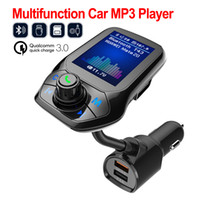 Wholesale mobile phones receiver for sale - Group buy T43 car Bluetooth Mp3 player call handsfree FM transmitter Strik support mobile phone network Music application software