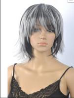peruca mix preto branco venda por atacado-WIG 002335 Cosplay Mulher Curta Reta Perucas Preto Branco Mix Peruca