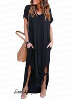 xl длина длинное платье втулки оптовых-Повседневная длинное платье макси с V-образным вырезом M-4XL Плюс размер Горячие продажи Женщины Элегантное платье с коротким рукавом Длина пола Лето