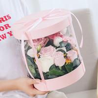 sacos de presente de seda preta venda por atacado-Limpar PVC flor caixas transparentes bolo redondo Embalagens caixas caixa de Bouquet presente para o dia da festa de aniversário favor do casamento dos Namorados