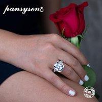 женщины муассанит оптовых-PANSYSEN Luxury Больших кольца Moissanite Gemstone Обручальных помолвки для женщин 100% реального размера 925 Sterling Silver Fine Jewelry 5-12