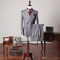 mens grau stück anzüge großhandel-Grau Hochzeit Groomsmen Smokings für Bräutigam trägt zwei Stück zweireihigen Maß Geschäft Party- Herren Anzüge Neu (Jacket + Pants)