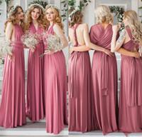 7eb1aa52913e Dusky Pink Convertible A Line Chiffon Bridesmaids Dresses For Summer Boho  Beach Weddings Cheap Maid of Honor Gowns Custom Made