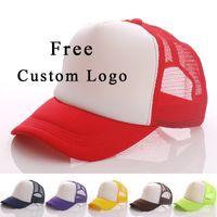 Wholesale blank winter hats for sale - Group buy 10 Free Custom Logo Baseball Cap Adult Child Personality Diy Design Trucker Hat Polyester Hats Blank Mesh Cap Men Women Y19070503
