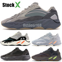 Wholesale kanye shoe pink resale online - 700 Wave Runner Mauve Inertia Running Shoes With Box Kanye West Designer Shoes Men Women V2 Static Sports Seankers Size