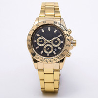 Wholesale green dress watches for sale - Group buy relogio masculino mens watches Luxury dress designer fashion Black Dial Calendar gold Bracelet Folding Clasp Master Male gifts couples