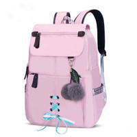 sacos de escola para meninas venda por atacado-Nova escola de moda de 2019 mochila para meninas colégio escola sacos de mulheres bolsa de ombro bola de pele bowknot mochilas para meninas adolescentes