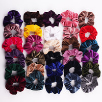 sıcak kız kadifesi toptan satış-30 Renkler Kadınlar Kızlar Kış Sıcak Satış Kadife şerit Kumaş Elastik Halka Saç Kravatlar Aksesuarları At Kuyruğu Tutucu Hairbands Lastik Bant Scrunchies