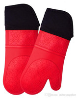Silicone Oven Mitt Extra Long Oven Mitt Professional Mitts 1 Pair Oven with Quilted Liner high quality 5 colors