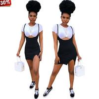 weißer 2-teiliger rockanzug großhandel-Boho Zweiteiliges Rockset Damen Zweiteilige Outfits für Damen Rockset Zweiteilig Schwarz / Weiß Sommer Sportanzüge