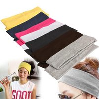 vendas anchas de algodón al por mayor-Al por mayor-Elastic Headband 2PCS Sports Yoga Accesorio Dance Biker Wide Headband Stretch Ribbon Cotton Hairband HW145