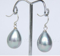 Wholesale 16mm black pearl for sale - Group buy colors mm gray black Drop shell pearls earrings