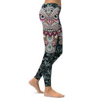 búhos leggings al por mayor-2017 Pantalones de chándal navideños flacos impresos en 3D Owl paisley Mosaic pantalones de yoga para mujer Leggings para correr Trajes de gimnasia jeggings