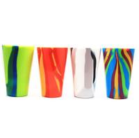 kupa için silikon bardaklar toptan satış-4 Renkler 450 ml Kamuflaj Silikon Kırmızı Şarap Cam Bardak Bira Cam Katlanabilir Silikon Bira Bardağı Drinkware Kahve Kupa CCA11725 20 adet