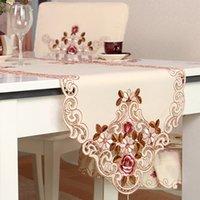 tischdecke stuhl großhandel-Europäische Pastorale Stickerei Tischdecke Tischläufer Eleganz Stuhl Garn Hochzeit Party Decor