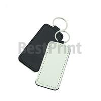 Rectangle Heart Round Square shaped PU made blank sublimation key chain soft hand feel PU keychain