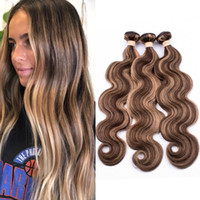 Wholesale honey brown hair weave resale online - Malaysian Piano Color Human Hair Body Wave Bundles Piano Brown Mix with Honey Blonde Highlight Color Human Hair Weave Extensions