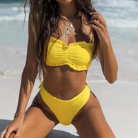 micro yellow bikini beach achat en gros de-Soutien-gorge rembourré push-up sexy pour femmes Bikini uni jaune vêtement de plage plissé Maillot de bain deux pièces Slip micro maillot de bain taille basse