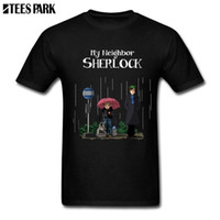 camisetas de dibujos animados pop al por mayor-Mi vecino Sherlock Camiseta de impresión Hombre Pre-algodón Manga corta Totoro Anime Dibujos animados Camisetas Pop Sale Juventud Inspirador