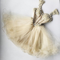 Wholesale cute dresses for plus sizes for sale - Group buy Chic Champagne Beaded Tulle Cocktail Dresses Dress For Graduation Appliques Ruffles Sexy Cute Formal Party Dress Crystal Club Wear