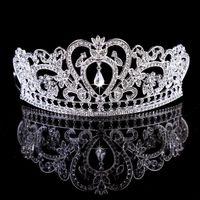 diademas de pelo moldeado al por mayor-Bling moldeados coronas cristales de boda 2020 diamante de la joyería nupcial del Rhinestone del envío de la venda del pelo del partido Accesorios tiara de la corona libre barato