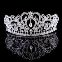 goldkronenzubehör großhandel-Bling wulstige Kristalle Hochzeit Kronen 2020 Braut Diamant-Schmuck Strass-Stirnband-Haar-Crown Zubehör Partei Tiara billig Freies Verschiffen