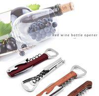 tirbuşon kapakları toptan satış-Ahşap Şarap Açacağı Paslanmaz Çelik Mantar Vida Tirbuşon İşlevli Şarap Kap Açacağı Ev Şişe Açacağı için Taşınabilir LJJK1843
