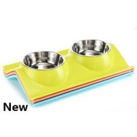 wasserreis groihandel-Pet Dog Bowl Puppy Cat Bowls Water Food Storage Feeder Non-toxic PP Resin Stainless Steel Combo Rice Basin LJJP 203