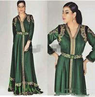 ingrosso nuovo abito arabo caftano-Nuovi abiti da sera a maniche lunghe in caftano marocchino verde smeraldo su misura abiti da sera arabi arabi ricamati ricami in oro