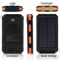 Wholesale 2019 New mah Compass Travel Portable Waterproof solar power universal battery charger with LED flashlight and Camping lamp for outdo