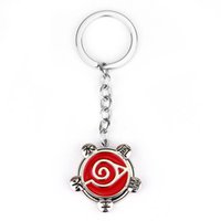 Wholesale cosplay material resale online - Animation style pendant keychain cosplay naruto logo personality zinc alloy material car backpack keyring accessaries small gift