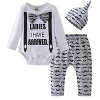 Wholesale baby mustache clothes resale online - Toddler Infant Newborn Baby Boy Clothing Letter Long Sleeve Romper Tops Cartoon Mustache Pants Hat Cotton Clothes Outfits Set