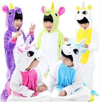tier-pyjamas groihandel-12 Stil Kinder Einhorn Flanell Tier Pyjamas Mädchen Jungen Kleidung Niedlichen Pyjamas Mit Kapuze Spielanzug Nachtwäsche Für 4 6 8 10 12 Jahre