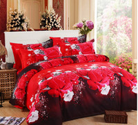 Wholesale king size fashion bedding online - Fashion Luxury Printed D flower Bedding Set Queen King Full Size Bed linen Sheet Duvet Cover Pillow Case Sets c