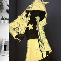 Wholesale silver ear jacket for sale - Group buy Cool Hip Hop Women Reflective Night Shiny Zipper Button Down Warm Autumn Winter D Ear Hooded Coat Jacket with Pockt