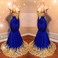 Wholesale sexy silk pieces gown online - 2019 Mermaid Royal Blue Prom Dresses Long Spaghetti Straps Satin Lace Applique Backless Sweep Train Formal Party Wear Evening Gowns