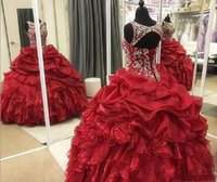 Wholesale junior pageant prom dresses for sale - 2019 New Red Quinceanera Dresses Crew Neck Beaded Sequins Tier Ruffles Long Organza Ball Gown Junior Sweet Prom Party Pageant Gowns