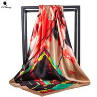 cabeza abstracta al por mayor-Gran bufanda de seda de las mujeres Resumen doodle Cuadrado Foulard Diseñador de lujo Gran pañuelo Hijab Satin Head bufandas Mujer 90cm x 90cm