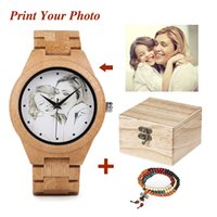 Wholesale uv photo resale online - Personality Creative Design Customers Photos UV Printing Customize Wooden Watch Customization Laser Print OEM Great Gift Watches LY191216