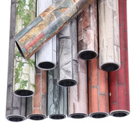 tijolo autoadhesivo de papel de parede 3d venda por atacado-DIY branco Chinês retro grosso imitação tijolo papel de parede tijolo vermelho PVC papel de parede à prova d 'água auto-adesivo sala de estar 3D estéreo adesivos de parede