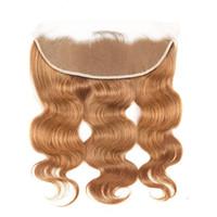 brezilya derin kıvırma 14 saç toptan satış-Sarışın Dantel Frontal 13x4 Brezilyalı Virgin İnsan Saç HD İsviçre Dantel Cepheler Ile Sarışın Derin Kıvırmak Dantel Frontal Kapatma Bebek Saç