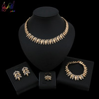 Wholesale top china fashion jewelry for sale - Group buy Yulaili Top Quality Elegant Luxury New Fashion Gold Plated Crystal Necklace Earrings Bracelet Jewelry Sets Simple Party Dress Jewelry Sets