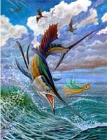 Wholesale paintings fish resale online - Rhinestone full round square diamond embroidery animal sea fish D diy diamond painting cross stitch kit home mosaic decor gift BB0247
