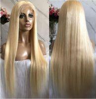 perruques de dentelle de cheveux vierges chinois achat en gros de-Celebrity Wigs Lace Front Wig 10A Blonde Couleur # 613 Silky Straight Chinese Virgin Vierge de Cheveux Humains Full Lace Wig pour White Woman Livraison Gratuite